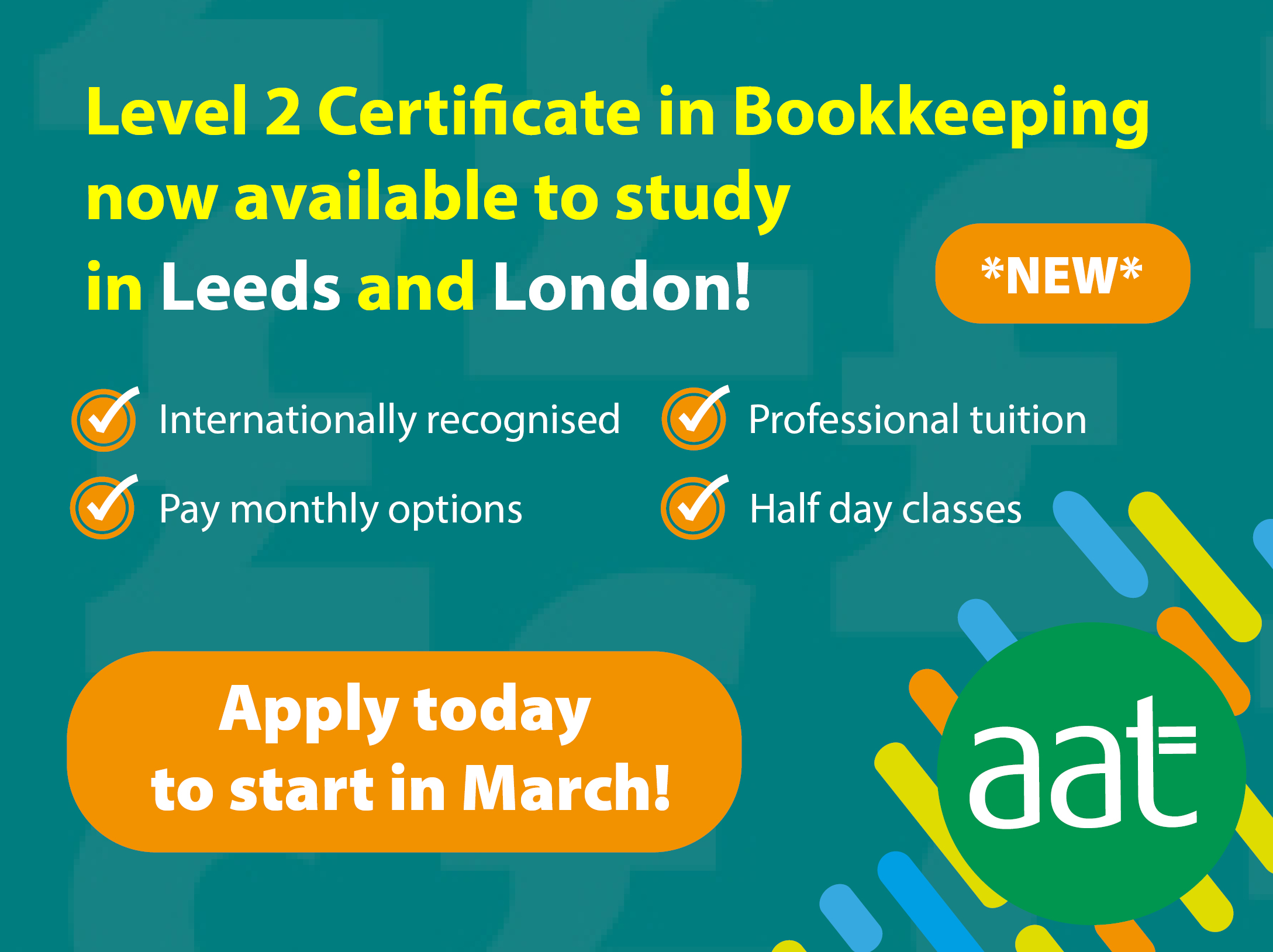 AAT Bookkeeping London and Leeds